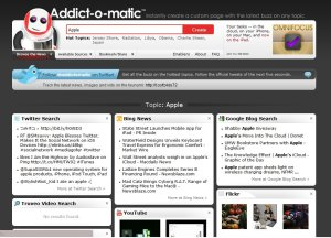 screen shot of addictomatic social media monitoring tool