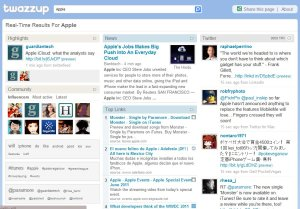 screen shot of twazzup social mentioning tool