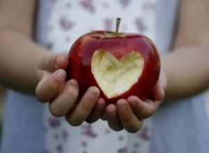 Child holding heart apple