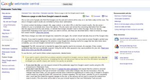How to remove content on Google's webmaster tools page
